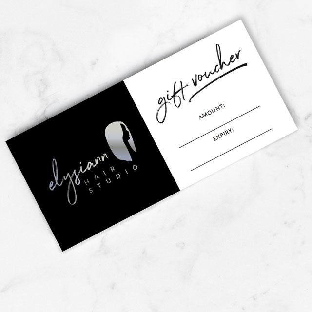 elysiann hair studio gift voucher design