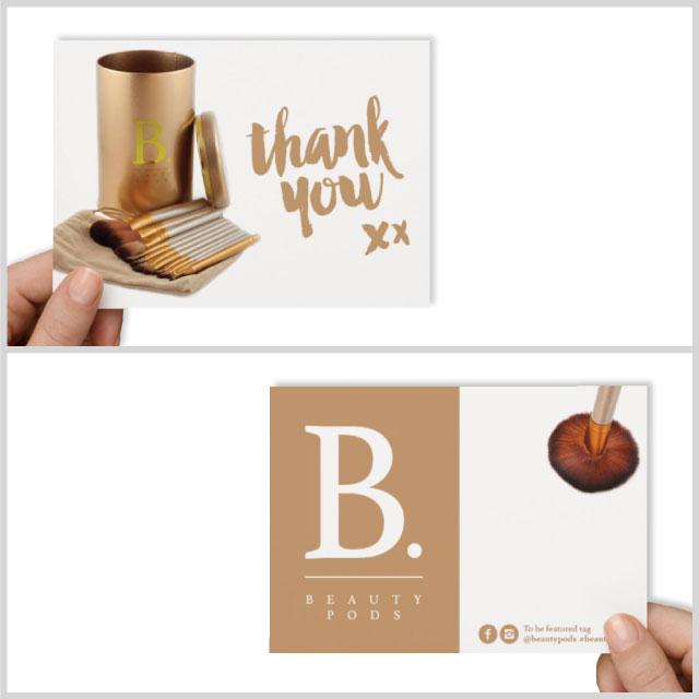 beauty pods postcard design