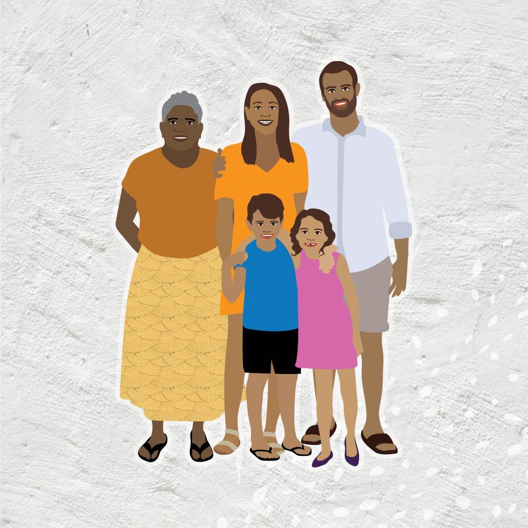 Danila Dilba Aboriginal family illustration