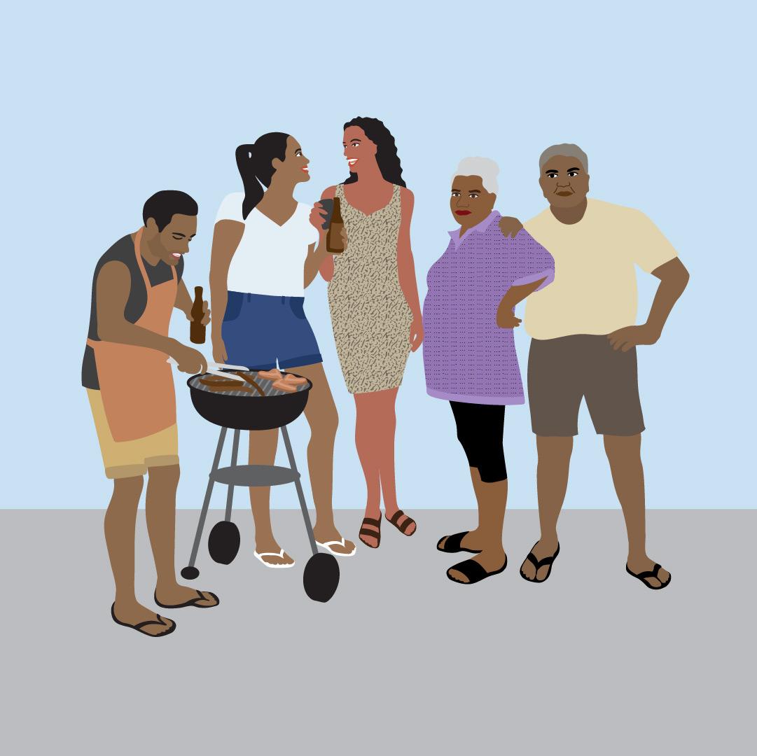 Danila Dilba non-socially distanced group illustrations